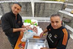 In preparazione dello stand alimentare